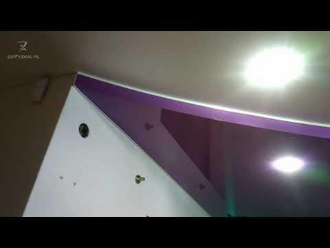 Wielopoziomowy sufit z podświetleniem i lampami