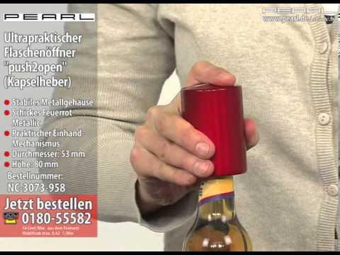 "PEARL Ultrapraktischer Flaschenöffner ""push2open"" (Kapselheber)"