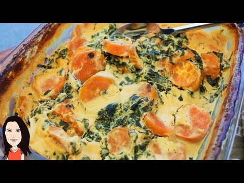 Vegan Cheesy Sweet Potato & Kale Bake - NO DAIRY RECIPE!