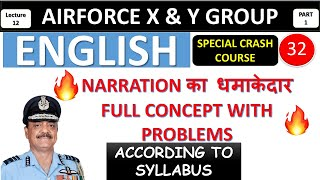 Narration Full Concept Problems for Airforce X and Y group 2019 || Direct-Indirect For Airforce 2019