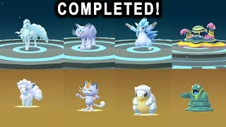Completed Alolan hatching and evolution Sandshrew, Vulpix, Grimer & Meowth plus new Regice raid