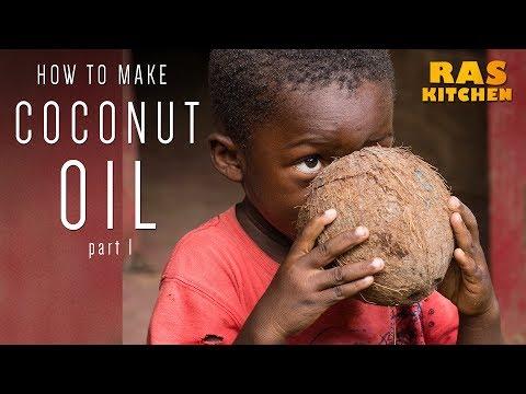 Grating Wild Coconut for Ras Kitchen Coconut Oil!