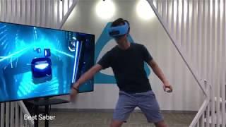 Playing Beat Saber on Vive Focus headset