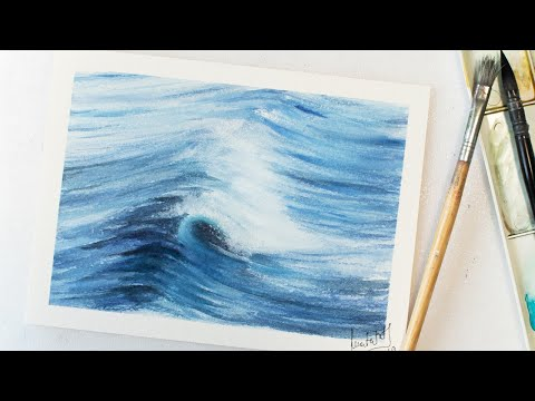 Watercolor WAVE painting - easy water painting for beginners
