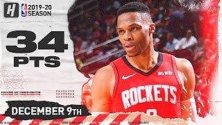 Russell Westbrook 34 Points Full Highlights   Kings vs Rockets   December 9, 2019