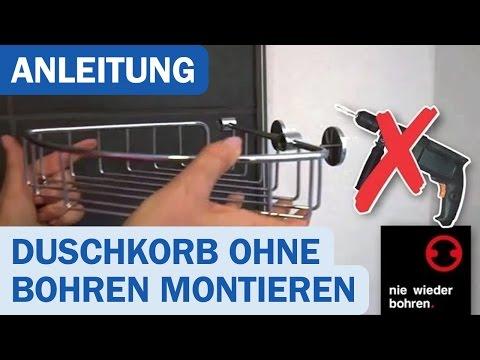 Nie wieder bohren! Duschkorb-Montage ohne Bohren - DUSCHMEISTER.DE