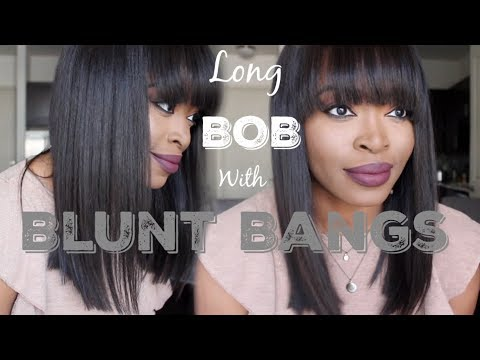 ISSA WIG!!! HOW? Extremely NATURAL LOOKING Long Bob With Blunt Bangs: Eva Wigs| Protective Style