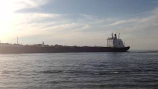preview picture of video 'Ship Cruising into the St Clair River in Sarnia Ontario'