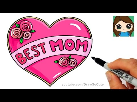 How to Draw Best Mom Bubble Letters and Heart