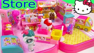 Hello Kitty Convenience Store Mini Doll Playset My Little Pony Lego Go Shopping Toy Unboxing