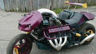 Мотоцикл с двиглом V8 от ГАЗ-53 собрал мужик из глубинки