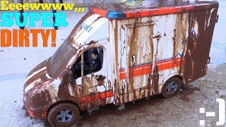 Kids' TOY CAR WASH! The Bruder Ambulance Toy is Covered with MUD! Ambulance Car Wash