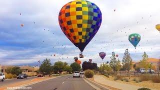 Hot Air Balloons Over ABQ Neighborhood  - Albuquerque International Balloon Fiesta