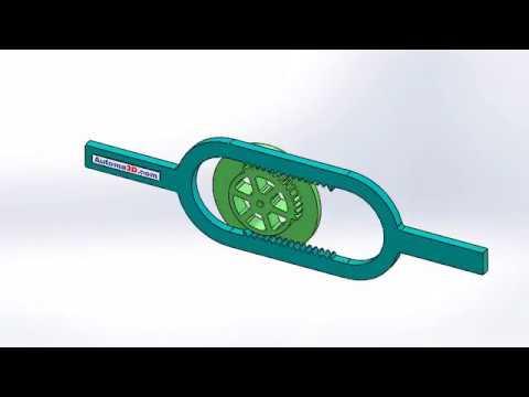 Mecanismos interessantes, barra oscilante com engrenagem única - Simulação SolidWorks 3D