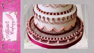 Maroon Marvel Bottom Tier Of Wedding Display Cake