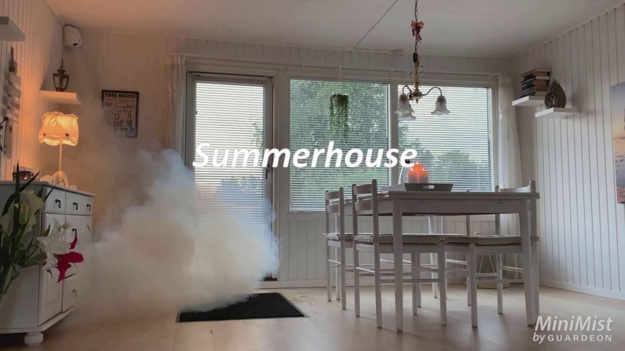 Røgkanon til tågesikring af sommerhus