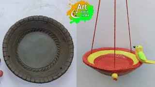 How To Make A Clay Bird Feeder | Clay Art | Art World India