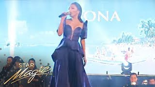 Jona singing the Miss Universe theme song 'Confidently Beautiful'