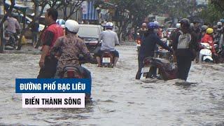Mưa xuyên đêm, đường phố Bạc Liêu biến thành sông