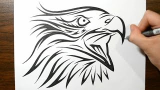 How To Draw A Tribal Eagle Tattoo Design