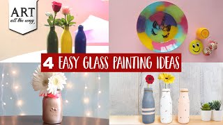 4 Easy Glass Painting Ideas | DIY Home Decors | Best Out Of Waste