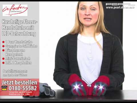 infactory Kuschelige Fleece-Handschuhe mit LED-Beleuchtung, rot, Gr. M