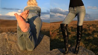 Tight Jeans, Over Knee Boots And Bare Feet Walk In Beautiful Fields During Sunset