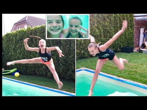 Vorstellung vs. Realität im Pool ☀️ Lia und Haley turnen im Pool  gymnastics