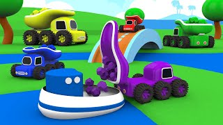 The Magic Lake with the Monster Truck Construction Vehicles - Colors for Children - Toy Trucks