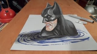 Art Drawing Batman In 3D - How To Draw 3D Batman -Trick Art On Paper