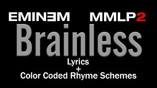 Eminem - Brainless - [Lyric Video & Colored Rhyme Scheme]