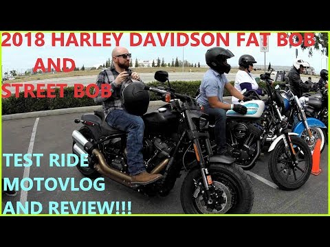 HARLEY DAVIDSON 2018 FAT BOB VS 2018 STREET BOB HARLEY DEMO DAY MOTOVLOG BIKE COMPARISON REVIEW!!!