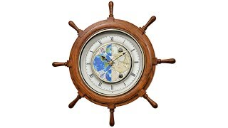 Time Trip Oak Ships Wheel Motion Wall Clock