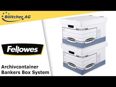 Archivcontainer Fellowes Bankers Box,system, mit Deckel, weiß/blau, 10 Stück