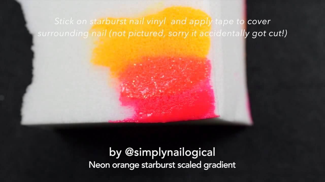 Neon orange starburst scaled gradient nail art tutorial thumbnail