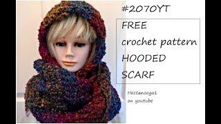 Free Crochet Pattern, #2070 - Hooded Scarf, Easy, Beginner Level.