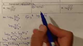Precalulus TEST 5 2 Logarithms and Exponential Fcns 36 to 38 (expanding logs)