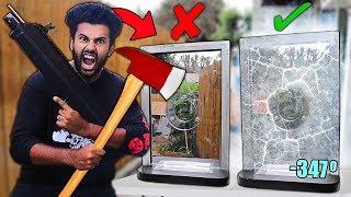 DESTROYING 100% UNBREAKABLE OBJECTS Using LIQUID NITROGEN!! *REAL BANK BALLISTIC GLASS WINDOW*