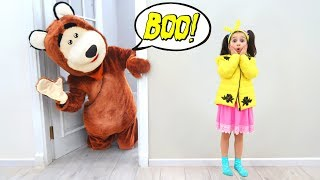 Fatima and Bear Pretend Play In Toy House