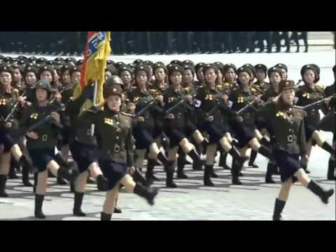 Someone put Bee Gees music over North Korean marching