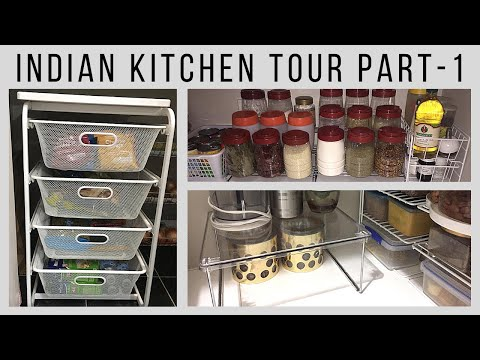 Indian kitchen tour (part 1) | How to organize kitchen without cabinets | Indian pantry tour