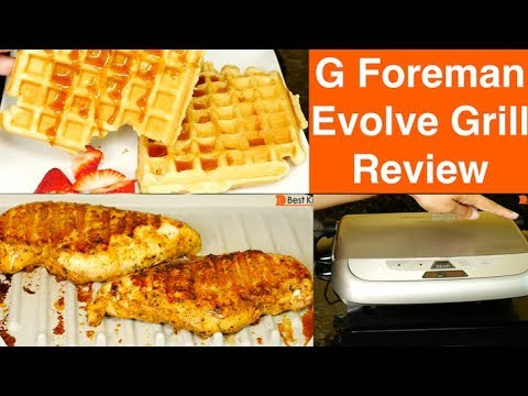 , George Foreman GRP4842P Multi-Plate Evolve Grill With Ceramic Grilling Plates  and Waffle Plates, Platinum