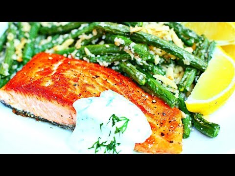 Healthy Pan Seared Salmon with Almond Green Beans Recipe