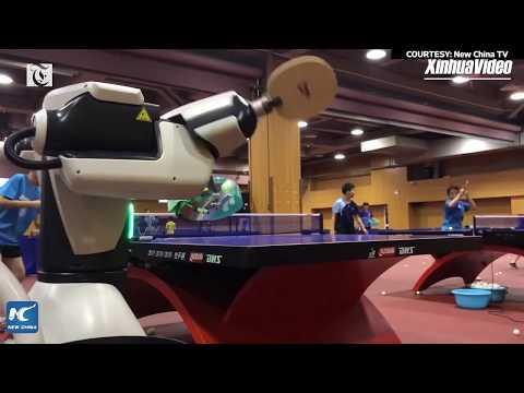 Robot ping-pong coach unveiled at sports university in Shanghai