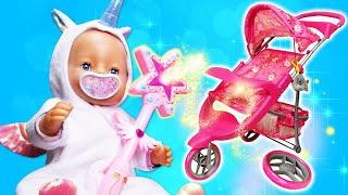 Spielzeug Video für Kinder. Baby Borns Kinderwagen ist kaputt. Video mit Puppe.