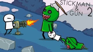 МОНСТРЫ АТАКУЮТ! Приключение нарисованного героя в игре Stickman And Gun 2 Новое видео для детей