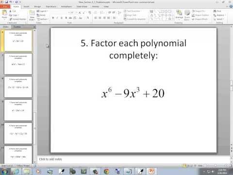 Intermediate Algebra: Factoring, A General Strategy