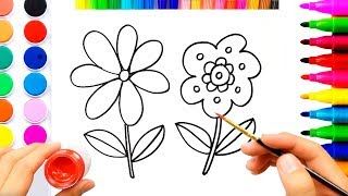 Flowers Coloring Pages For Children  | Easy Drawing Video For Kids