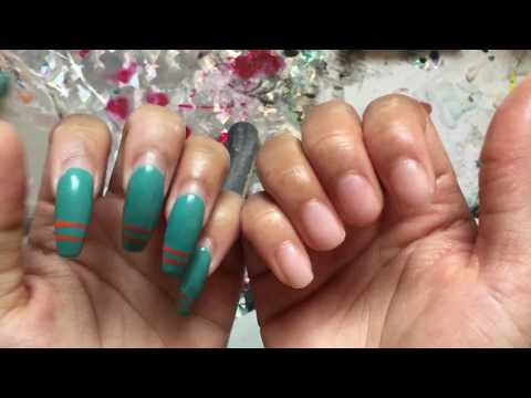 HOW TO PROPERLY REMOVE YOUR ACRYLIC NAILS AT HOME   NO DAMAGE & KEEP YOUR LENGTH