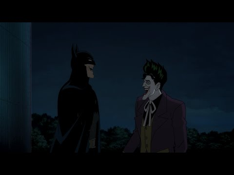 Joker tells Batman a joke and Batman laughs.